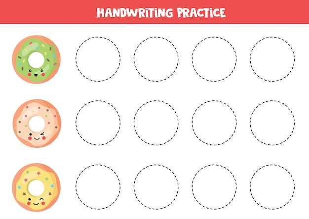 Linien mit niedlichen kawaii donuts verfolgen. lernspiel.
