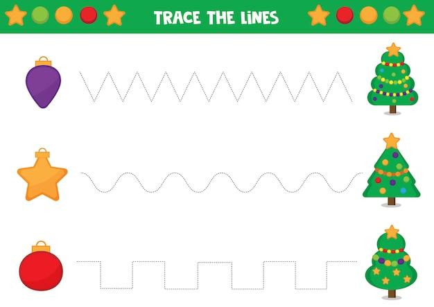 Linien mit weihnachtskugeln und tannenbaum verfolgen.