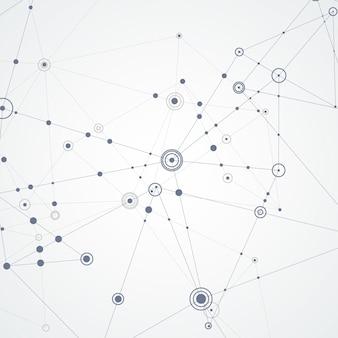 Linien und punkte verbinden, cover-vorlage für wissenschafts- und technologiepräsentation oder web