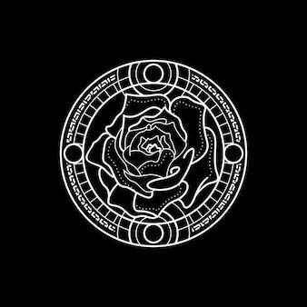Linienart rose geometry mit kreisrahmen