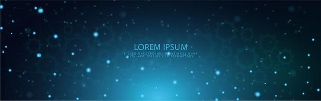 Liniendesign oder website-banner mit abstraktem geometrischem hintergrund und verbindenden punkten und linien. im geschäftskonzept globale netzwerkverbindung digitale technologie mit blauem hintergrund