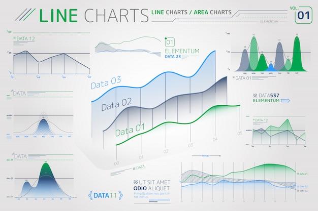 Liniendiagramme und flächendiagramme infografik-elemente