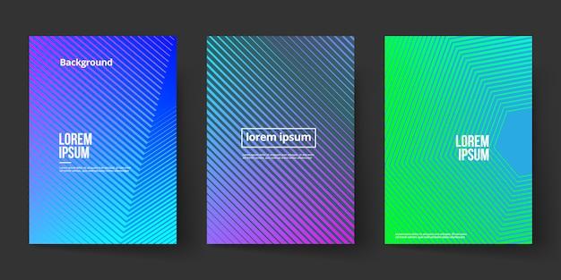 Linienform hintergrund mit farbverlauf deckblattvorlage