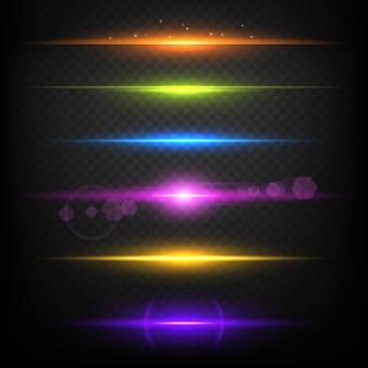 Linienglühenränder. neonlicht beleuchtete lineare burst-vorlage