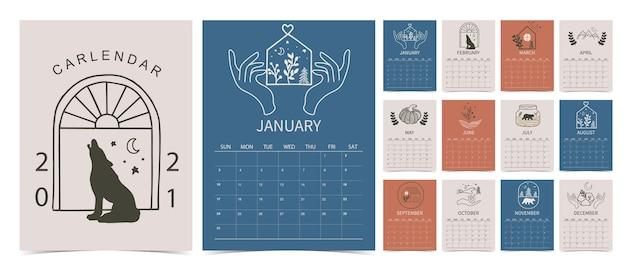 Linienhandkalender 2021 mit blume