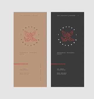 Linienikone des kaffeebaumzweigs. lineares logo der kaffeepflanze. schablonenverpackung für kaffeebohnen.