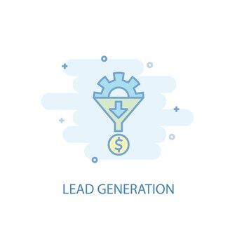 Linienkonzept zur lead-generierung. einfaches liniensymbol, farbige abbildung. flaches design des lead-generation-symbols. kann für ui/ux verwendet werden