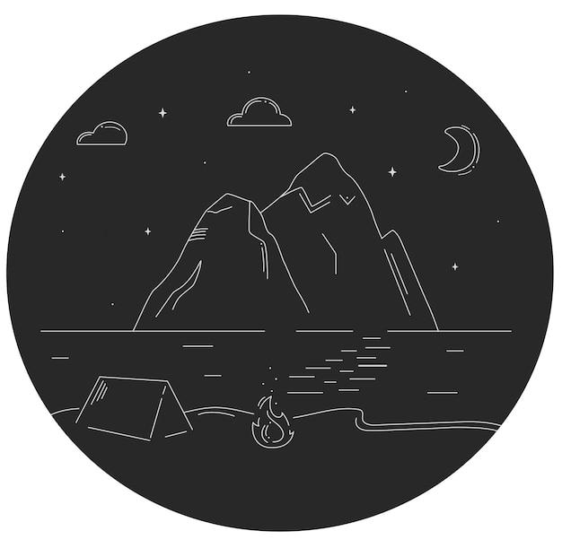 Linienkonzeptillustration für camping im zelt mit feuerflamme am fluss- oder meeresufer in der nähe von bergen bei sternenklarer nacht mit halbmond. tourismus und reisen im in- und ausland.