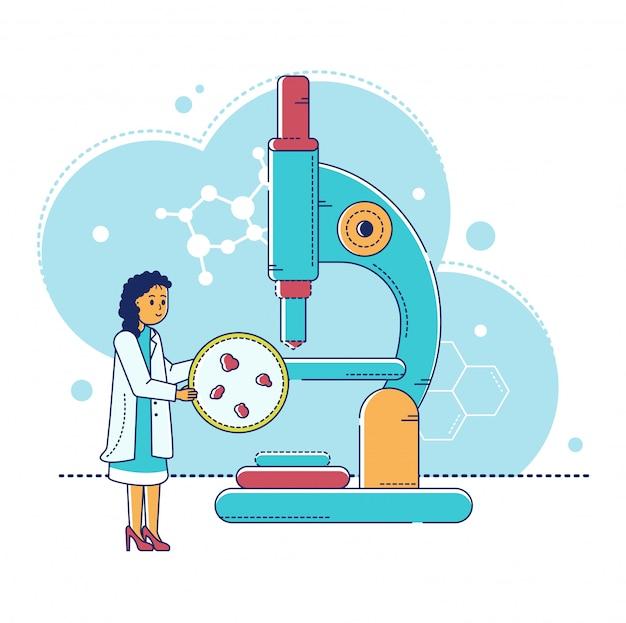 Linienlaborforschungsillustration, karikatur winziger wissenschaftlerfrauencharakter, der mit labormikroskop auf weiß arbeitet