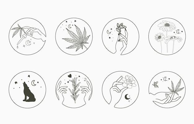Linienobjektsammlung mit hand, cannabis, fuchs, sonnenblume, mond