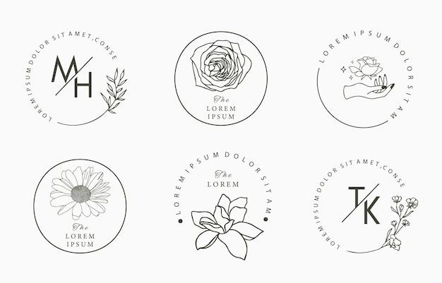 Linienobjektsammlung mit hand, magnolie, rose, lavendel, blatt, blume, sonnenblume