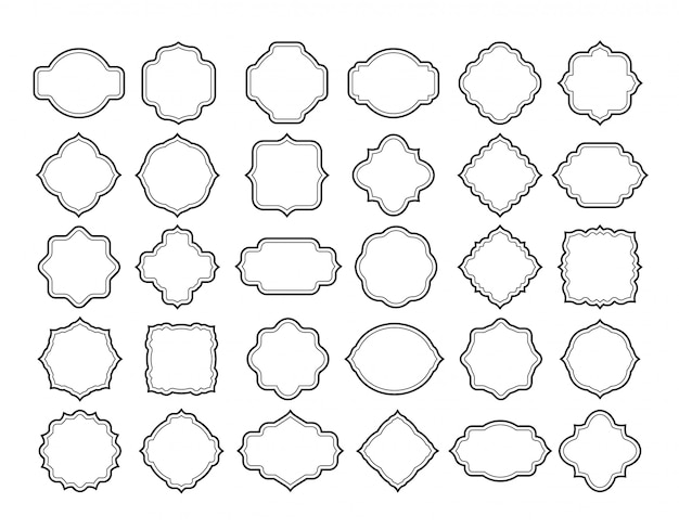 Linienrahmen-etikettensatz. vintage leere verzierte abzeichenformen. retro weißer klassischer tag, einladungskartendekoration grenzt vektorsammlung an