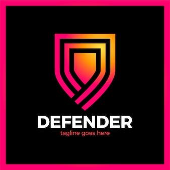 Linienschild-logo. drei umriss verteidigungssymbol.