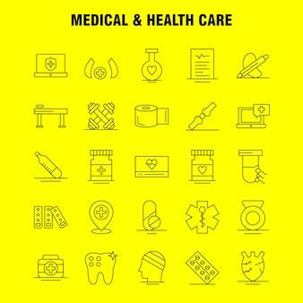 Liniensymbol medizin und gesundheitswesen: medizin, medizin, tablet, krankenhaus, maßnahme, medizin, medizinprodukte, piktogrammpaket