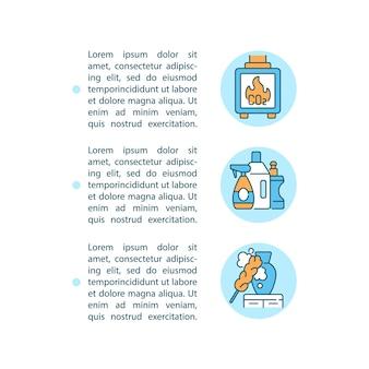 Liniensymbole für das konzept der luftverschmutzung in innenräumen mit text