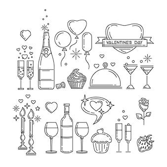 Liniensymbole für den valentinstag und andere romantische ereignisse. romantisches abendessen. flasche wein, gläser, champagner, erdbeeren, kuchen, rosenblüte, kerzenlicht. illustration