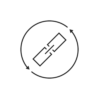 Link-austausch-dünne linie-symbol. konzept von chainlink, safety, virtual, database, synchronisation, remote, sync. isoliert auf weißem hintergrund. flacher stil trend moderne logo-design-vektor-illustration