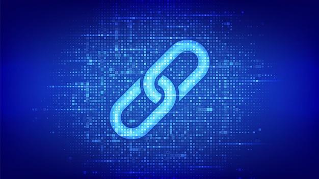 Link-symbol mit binärcode. blockchain-technologie. kooperationssymbol. kommunikation, sicherheit, internetsicherheit, connect-konzept. digitaler codehintergrund mit ziffern 1.0. vektor-illustration.