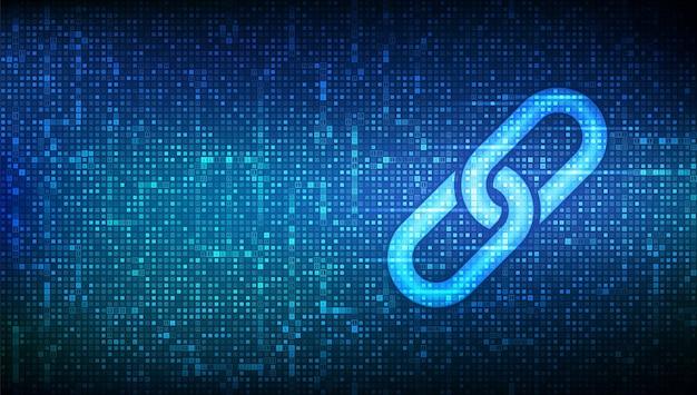 Link-symbol mit binärcode blockchain-technologie kooperationssymbol kommunikationssicherheit internet-sicherheitsverbindungskonzept