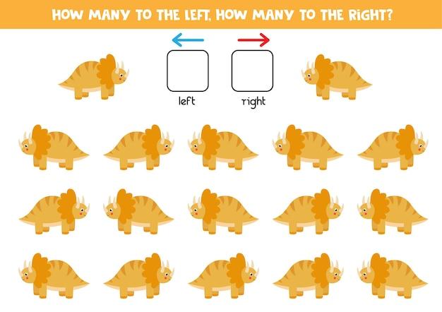 Links oder rechts mit cartoon-dinosaurier-trice-raptor. lernspiel zum lernen von links und rechts.