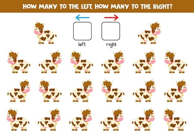 Links oder rechts mit niedlicher cartoonkuh. lernspiel zum lernen von links und rechts.