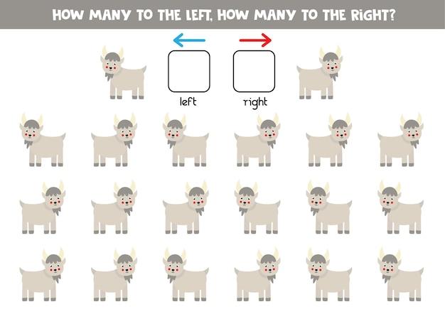 Links oder rechts mit niedlicher cartoonziege. lernspiel zum lernen von links und rechts.