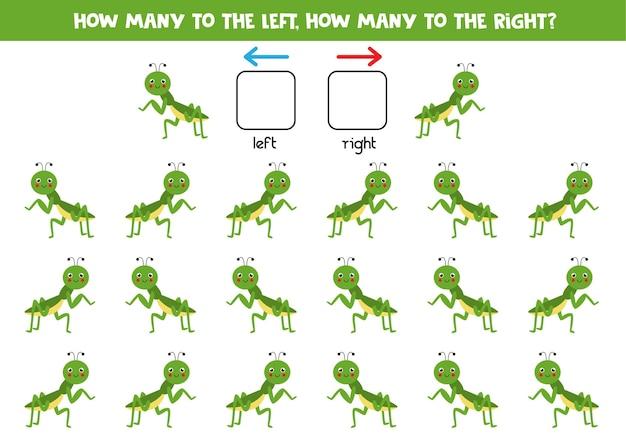 Links, rechts, oben oder unten. räumliche orientierung mit niedlicher gottesanbeterin.