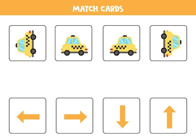 Links, rechts, oben oder unten. raumorientierung mit cartoon-taxi.