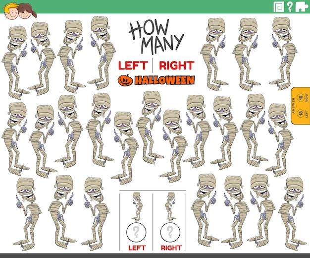 Links und rechts ausgerichtete bilder von mumien-halloween-charakter zählen