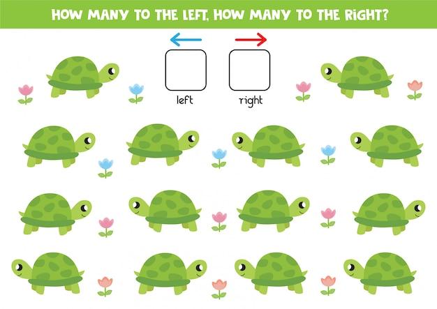 Links und rechts mit comic-schildkröte. lernspiel für kinder im vorschulalter.