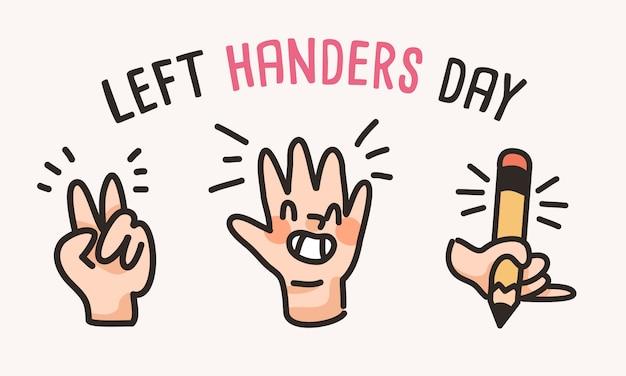 Linkshänder tag menschen niedlich linke hand zeichnung cartoon
