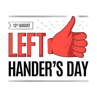 Linkshänder tag mit daumen hoch