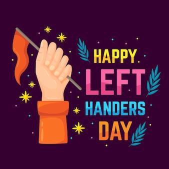 Linkshänder tag mit hand hält flagge