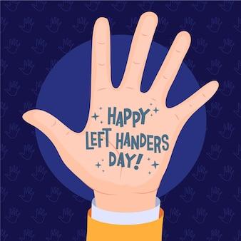 Linkshänder tag mit nachricht auf handfläche