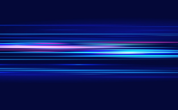 Linseneffekt. blaue linien. der effekt der geschwindigkeit auf ein blau. bewegungslichteffekt.