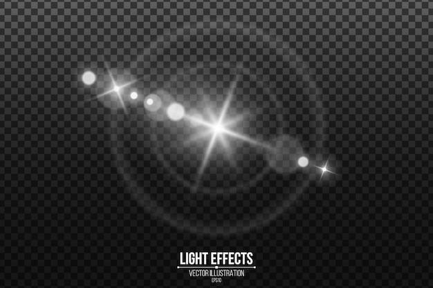 Linseneffekt isoliert auf einem schwarzen transparenten hintergrund. weiße blendung und fackel. abstrakte lichter