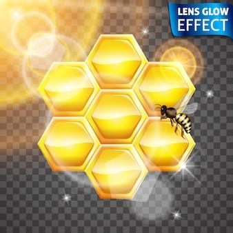 Linsenglüheffekt. bienenwabe, biene, strahlende wirkung der sonne. helle lichter, blendung, linseneffekt. .