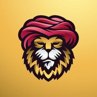 Lion guru logo illustration