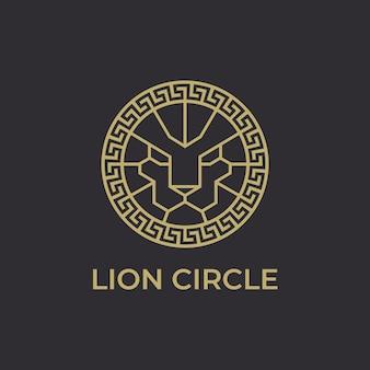 Lion head circle logo-vorlage