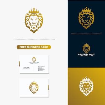 Lion head creative logo und visitenkarte-design