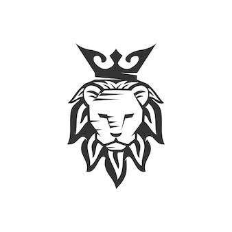 Lion head crown maskottchen emblem vorlage marke modern