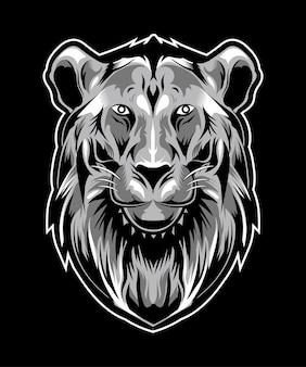 Lion head illustration auf dunklem hintergrund