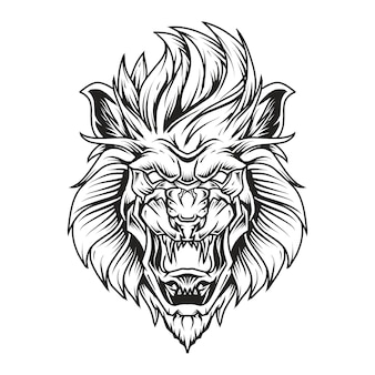 Lion head line art illustration