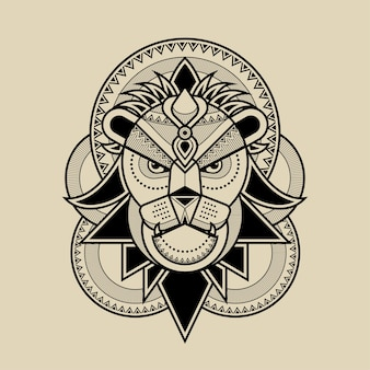 Lion head line artwork illustration