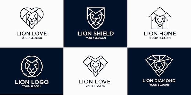 Lion head logo icon set mit kombinationsliebe, zuhause, diamant, schild.
