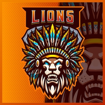 Lion indian maskottchen esport logo design illustrationen vektor-vorlage, chief apache logo für team-spiel streamer youtuber banner zucken zwietracht