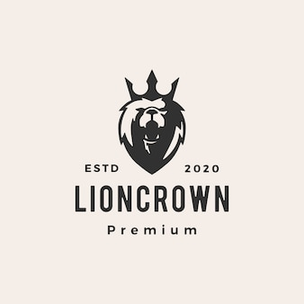 Lion king crown hipster vintage logo symbol illustration
