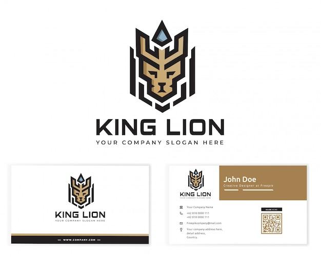 Lion king gold logo mit visitenkarte