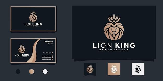 Lion king logo-design mit einzigartiger kopflöwenform, goldener farbverlaufsfarbe und visitenkarte premium vek