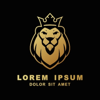 Lion logo gesicht könig kopf vektor icon vorlage illustration